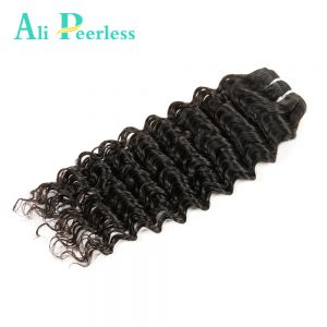 Ali Peerless Hair Deep Wave Malaysian Virgin Hair 100% Human Hair 10-28 inch Nature Black Free Shipping One bundle