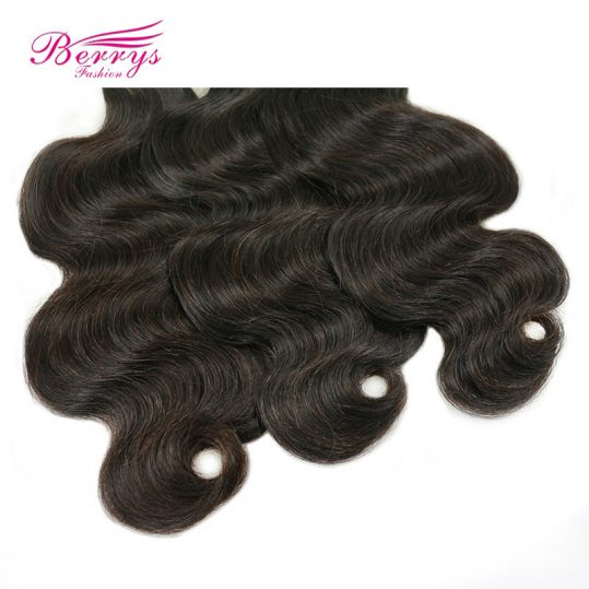 [Berrys Fashion] Malaysia Virgin Hair 100g Body Wave Hair Extensions 10-28 Inch 1Pcs/Lot 100% Human Weave Hair For Black Women