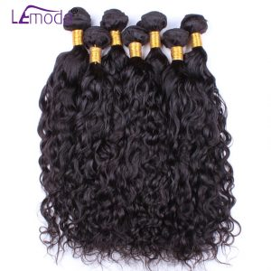 Le Moda Malaysian Water Wave Virgin Hair Weave Bundles 1PC/lot Unprocessed Human Hair Extensions Natural Black Free Shipping