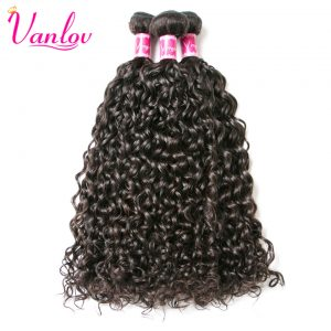 Vanlov Malaysian Water Wave Bundles Human Hair Extension Natural Color Weave Bundles Non Remy Can Buy 3/4 PCS Free Shipping