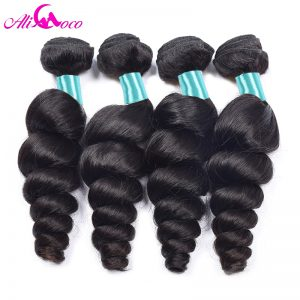 Ali Coco Malaysian Loose Wave Hair Bundles Natural Color 1 Piece 100% Human Hair Weave Non-Remy Hair Can Be Dyed