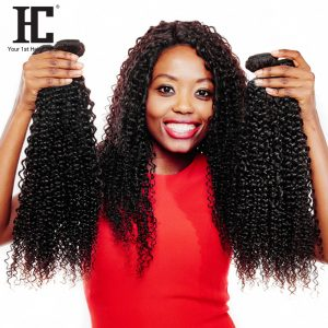 HC Malaysian Kinky Curly Hair Weave 10-28 Inch Natural Color 100% Human Hair Bundles One Piece Non Remy Buy 3pcs Closure
