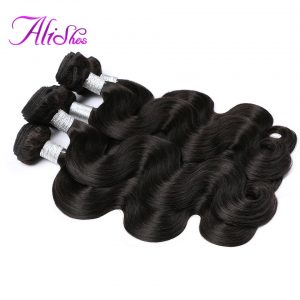 Alishes Hair Malaysian Body Wave Bundles Natural Color Non-Remy Hair Weave 100% Human Hair Bundles Free Shippping