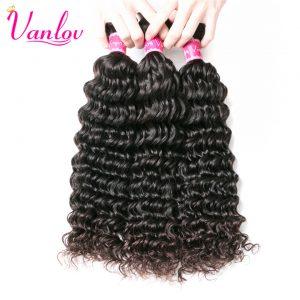 Vanlov Malaysian Deep Wave Bundles Human Hair Bundles Non Remy Malaysian Hair Extension Natural Color Can Buy 3 or 4 PCS