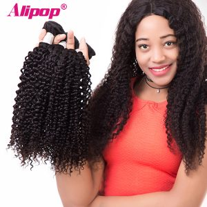 ALIPOP Malaysian Kinky Curly Hair Bundles Human Hair Bundles Double Weft Non Remy Hair Extension 1PC Hair Weave Can be dyed