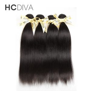 HCDIVA Malaysian Straight Hair 100% Human Hair Weave Bundles 8 to 28 Inch Natural Color Non Remy Hair Extensions