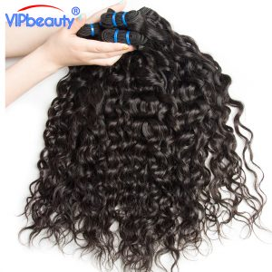 Malaysian water wave hair VIP beauty human hair weave bundles can buy 3 or 4 bundles non remy hair weaving natural color 1b