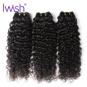 Iwish Malaysian Curly Hair Weave Bundles 1 Piece Non-remy Human Hair Weaving Natural Color 10-28inch Free Shipping