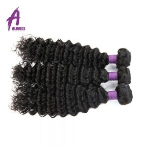 Malaysian Deep Wave Human Hair Weave Bundles Hair Extension Alimice Non-Remy Hair Weaving 100g Machine Double Weft Natural Color