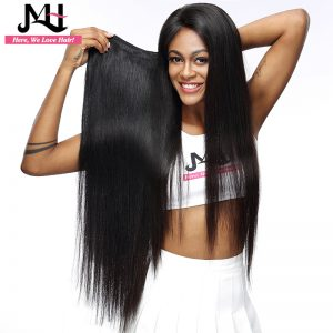 JVH Raw Indian Hair Straight Remy Hair Weaving 8-28 inch 100% Human Hair Bundles Natural Color Double Weft