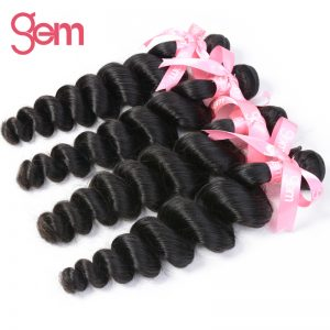 Indian Remy Hair Loose Wave Hair Extensions 1Pcs 100% Human Hair Weave Bundles GEM BEAUTY SUPPLY Hair Products Natural Black 1b