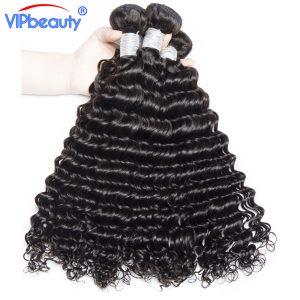 vip beauty Indian deep curly hair weaving 1pcs/lot remy human hair bundles hair extension 10-28 inch 1b