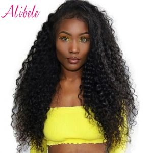 Alibele Raw Indian Deep Curly Hair Weave Bundles Natural Color 100% Remy Human Hair Weaving Can Be Dyed Permed 10-28inch 1 Piece