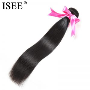 ISEE Indian Straight Hair Weave Bundles 10-26 Inch Hair Extension 100% Remy Human Hair Weave Can Be Dyed