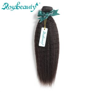 Rosa Beauty Hair Products Indian Remy Hair Kinky Straight 100% Human Hair Weave Bundles Natural Color Hair Extensions