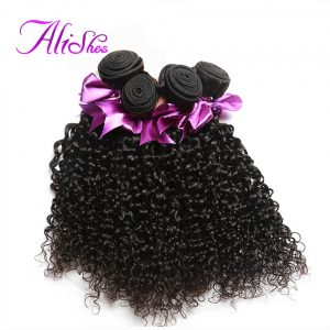 Alishes Hair Indian Curly Weave Human Hair Bundles 100g 10-28 inches Natural Color Remy Hair Extensions Free Shipping