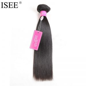 ISEE Indian Virgin Hair Straight Human Hair Extensions 10-26 Inch Free Shipping Machine Double Weft