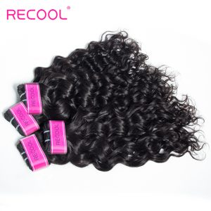 Recool Indian Virgin Hair Bundles 10-28 Inch Wet And Wavy Human Hair Weave Bundles Natural Color Hair Extensions Free Shipping