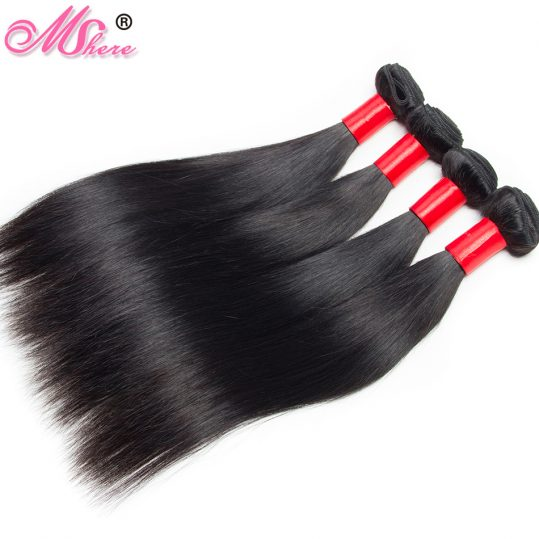 MShere Human Hair Bundle Indian Straight Hair Bundles 100g Per Piece Non Remy Hair 100% Human Hair Natural Color