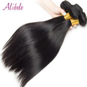 Alibele Indian Straight Hair 100% Human Hair Weave Bundles 100G/Piece Thick End Natural Color non Remy Hair Weave Bundles