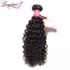 Longqi Hair Kinky Curly Indian Hair Weaving Natural Black Human Non-Remy Hair Bundles 8-26 Inch Drop Shipping