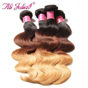 Ali Julia Hair Indian Non-remy Ombre Body Wave Bundles Color T1B427 16 Inches to 26 Inches Free Shipping Hair Extension
