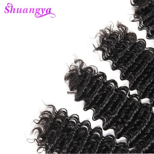 Shuangya Indian Deep Wave 100% Human Hair Weave Bundles 10-28Inch Hair Extensions Natural Color Non Remy Hair Weaving Free Ships