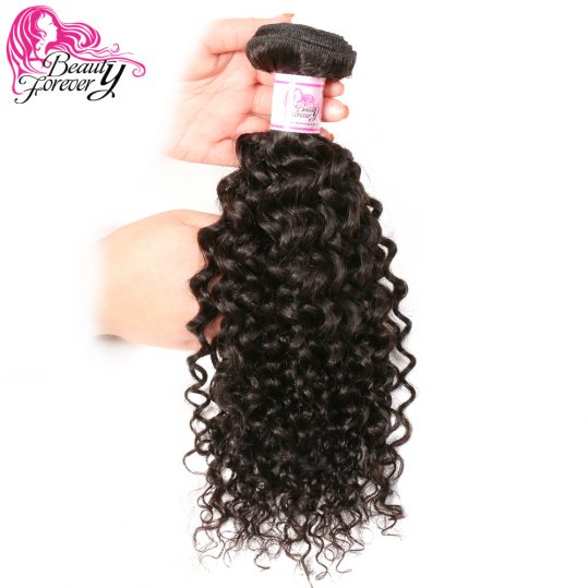 Beauty Forever Indian Curly Hair Extensions 1 Bundle 100% Human Hair Weaving Non Remy Hair Natural Color 8-26 inch