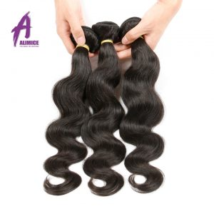 Alimice Raw Indian Hair Body Wave Bunbdles Human Hair Weave 8-30Inch Natural Color 1 Piece Non Remy Hair Free Shipping