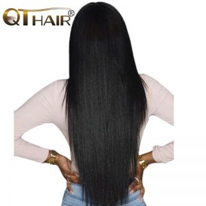True to Length Flowy Straight Raw Indian Hair Bundles Weave Human Hair Natural Black Take Color Well 8-28 Inch Non Remy QThair