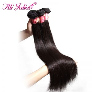Ali Julia Hair Indian Hair Bundles Natural Color 8 Inches to 30 Inches Non Remy Straight Human Hair Weave 1 Piece Free Shipping