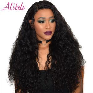 Alibele Raw Indian Human Hair Water Wave Hair Weave Bundles Natural Color Non remy Hair Extensions Can Be Dyed Straighten 1 Pcs
