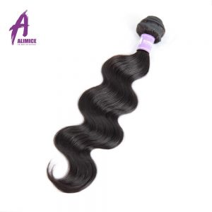 Indian Body Wave Human Hair Weave Bundles Hair Extensions Alimice 100% Non-Remy Hair Weaving Machine Double Weft Natural Color