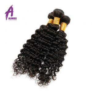 Alimice Indian Deep Wave 100% Human Hair Weave Bundles Non-Remy Hair Natural Color 8-26inch Can Buy 3/4 Bundles Free Shipping