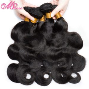 Mshere Body Wave Human Hair Weave Bundles Indian Hair Extensions 1 piece Non Remy Hair Weft Natural Black 1B# Can Be Colored