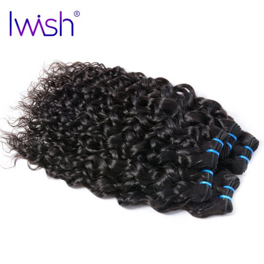 """Indian Water Wave Human Hair Extensions 10""""-28"""" Natural Black 1 Piece Non-Remy Hair Weave Bundles Iwish Human Hair Can Be Dyed"""