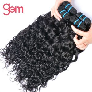 Indian Water Wave Hair Extensions 100% Human Hair Weave 1 Bundle GEM BEAUTY Supply Non-remy Hair Natural Color 1b Can be Dyed