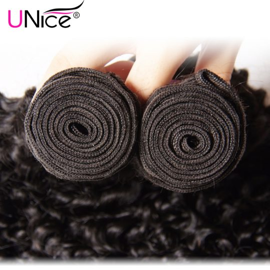 UNice Hair Company Indian Curly Hair Bundles Non Remy Hair Weave Natural Human Hair Extensions 1 Piece Can Buy 3 or 4 Bundles