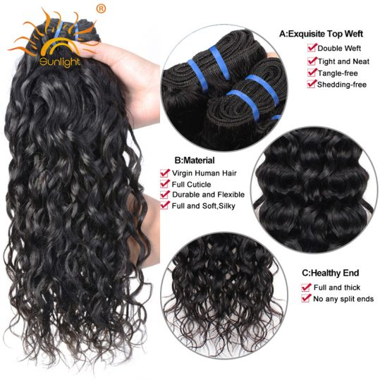 "Indian Water Wave Human Hair Extensions 8""-28"" Natural Black 1 Piece Non-Remy Hair Weave Bundles Sunlight Human Hair Can Be Dyed"