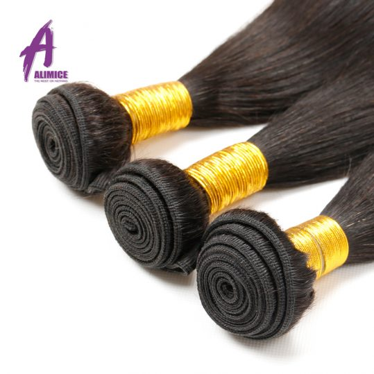Alimice Indian Straight Hair Weave 100% Human Hair Bundles 8-30 Inch Natural Color 1 Piece Non-Remy Hair Machine Double Weft