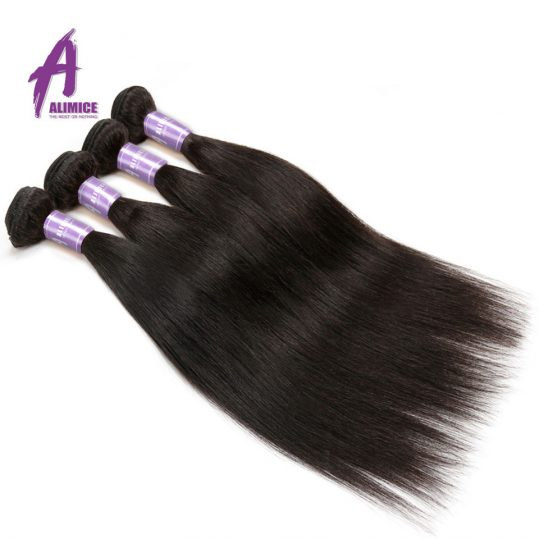 Indian Straight Hair Bundles Human Hair Weave Bundles Non-Remy Hair Extensions Alimice Hair Weaving Double Weft Natural Color