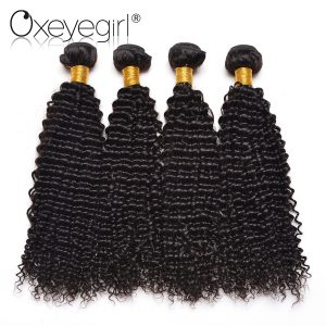 Oxeye girl Mongolian Kinky Curly Hair Bundles 100% Human Hair 10-28 Inch 1Piece Natural Color Non Remy Hair Extensions