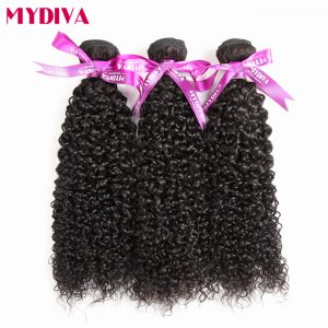 Mydiva Hair Store Mongolian Kinky Curly Weave Human Hair Bundles 100% Non Remy Hair Extensions Can Buy 3/4 pcs Can Be Dyed