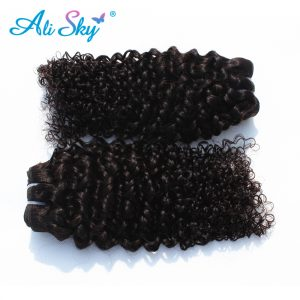 Ali Sky Mongolian nonremy kinky curly human hair weaves 1piece can buy 3or4 bundles natural back thick weft for black women