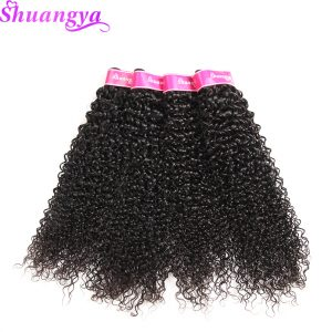 Shuangya Hair Mongolian Kinky Curly hair Weave Bundles Natural Color 100% Human Hair extensions 10-28Inch Non Remy hair Weft