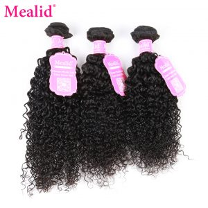 "[Mealid] Mongolian Kinky Curly Weave Human Hair 1 Piece Only Can Buy 3 Or 4 Bundles Non-remy Natural Color 8-28"" Hair Extensions"
