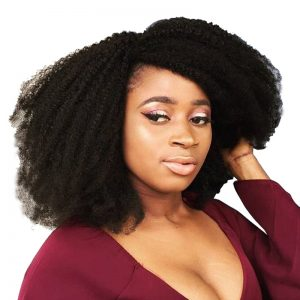 Mongolian Afro Kinky Curly Hair Weave Natural Color Human Hair Bundles Non-Remy CARA 1 Piece