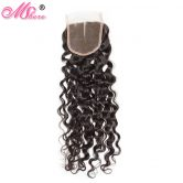 MShere Remy Hair Peruvian Water Wave Lace Clousre Medium Brown 4*4 Inches Lace 10-18 Inches Middle Part