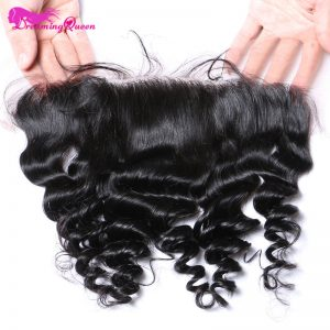 Dreaming Queen Hair Pre-Plucked Loose Wave Lace Frontal Closure 13x4 Peruvian Remy Human Hair Frontal With Baby Hair