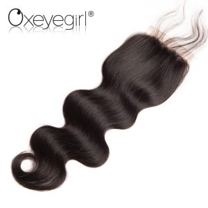 "Oxeye girl Peruvian Body Wave Lace Closure With Baby Hair Free Part Remy Human Hair Closure 4""x4"" Midium Brown Swiss Lace 8""-22"""